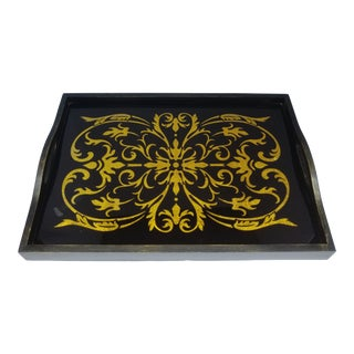 Vintage Italian Smoked Glass Tray For Sale