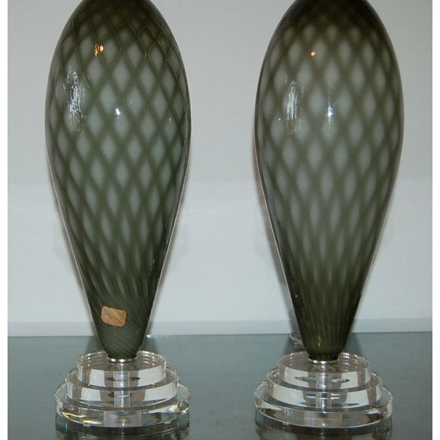 Metal Vintage Murano Glass Table Lamps Gray For Sale - Image 7 of 9