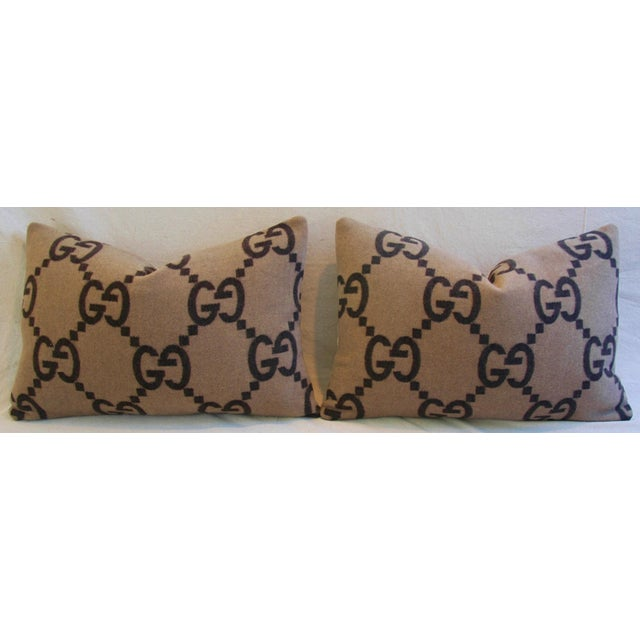 """23"""" X 16"""" Custom Tailored Gucci Cashmere & Velvet Feather/Down Pillows- Pair - Image 5 of 10"""