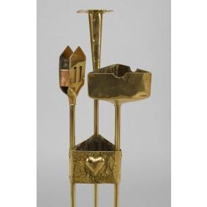 American Mission Arts & Crafts (20th Cent) brass smoking stand on triangular base with ashtray, candle holder and match safe