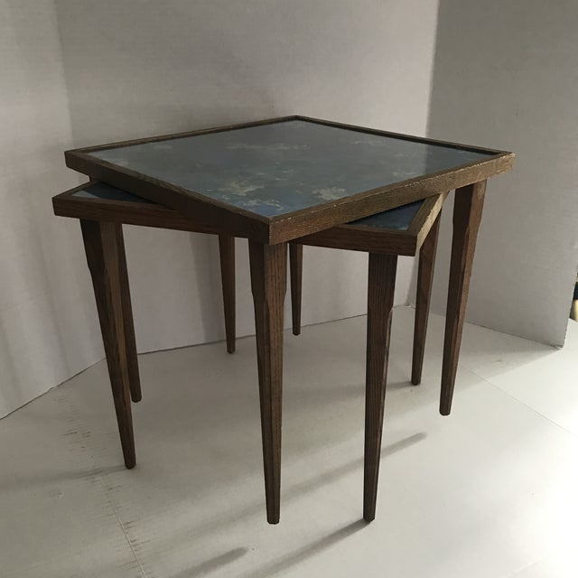 Mid-Century Stacking Tables With Glass Tops - A Pair For Sale - Image 4 of 13