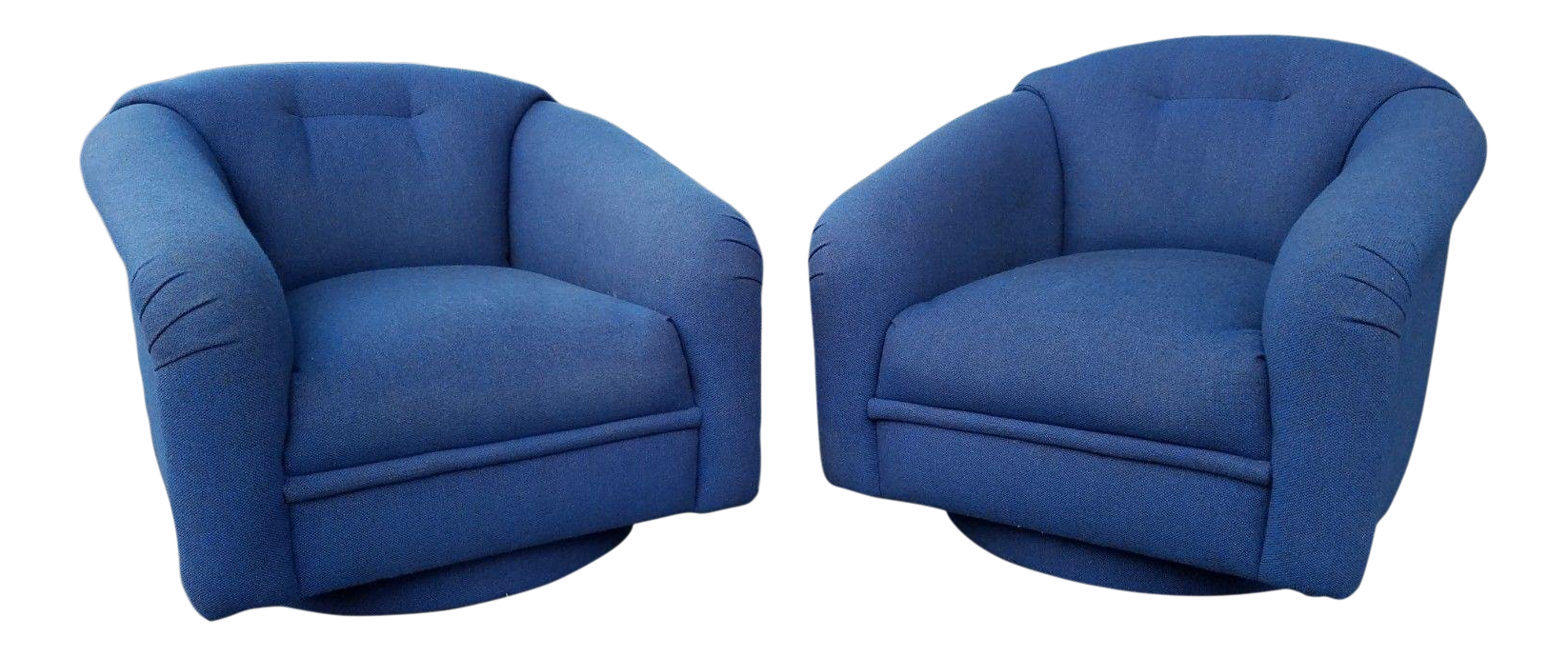 1970u0027s Mid Century Modern Milo Baughman Attribution Swivel Tub Chairs   A  Pair