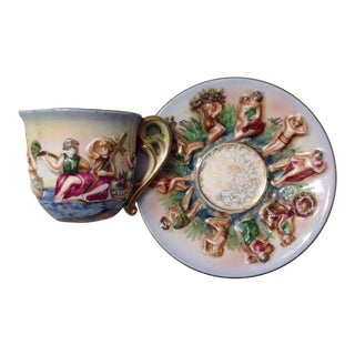 Vintage SGK Japan Hand Painted Tea Cup & Saucer - A Pair