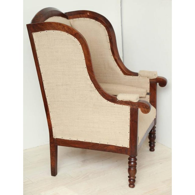 Textile Early 19th Century French Walnut Upholstered Wing Chair For Sale - Image 7 of 10