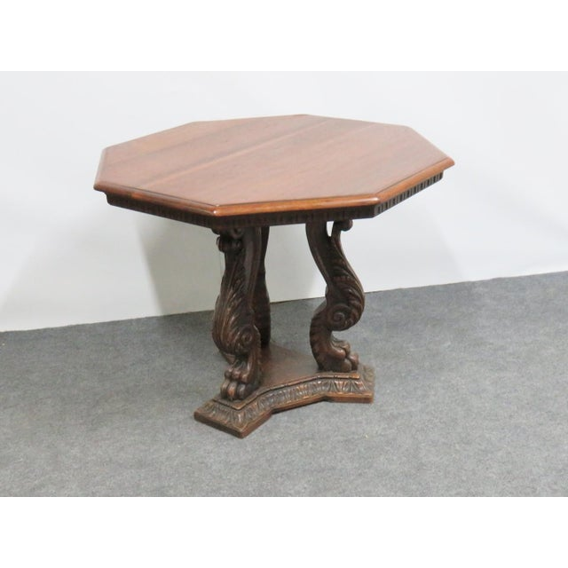 Italian Italian Style Walnut Carved Center Table For Sale - Image 3 of 6