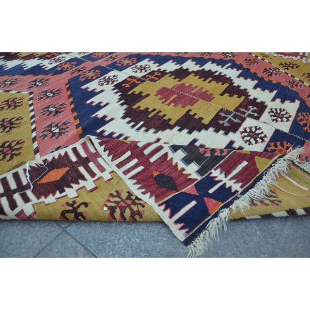"Vintage Turkish Kilim Rug - 6' X 12'7"" For Sale - Image 6 of 6"