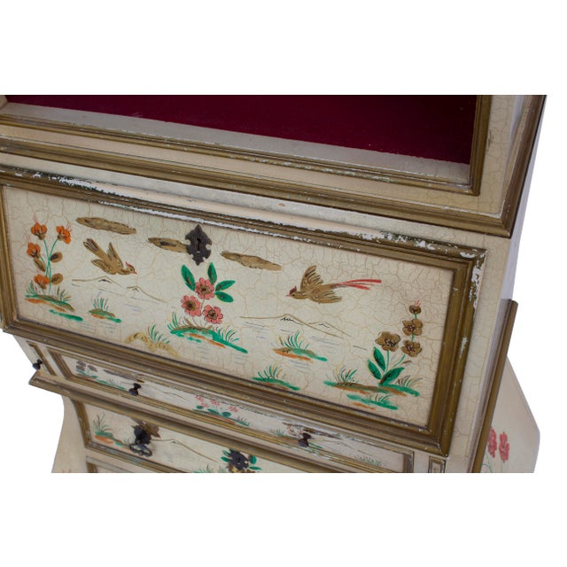 Cream Crackle Glaze Handpainted Chinoiserie Secretary For Sale - Image 6 of 8