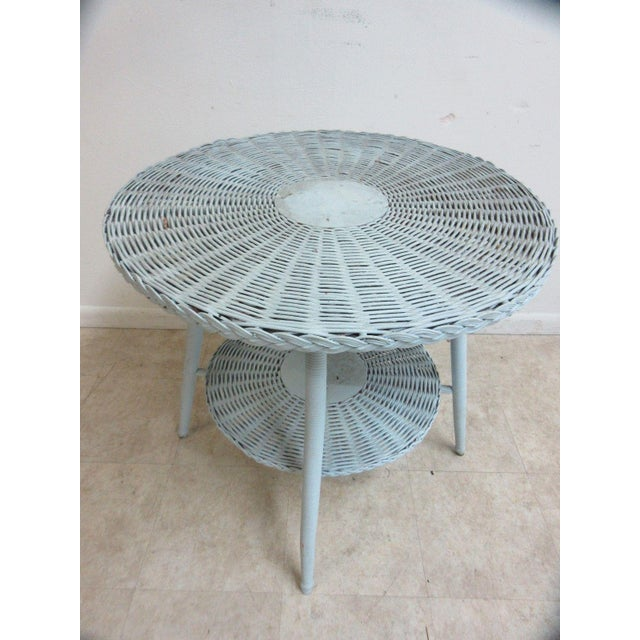 1970s Antique Victorian Wicker Patio Dinette Table For Sale - Image 5 of 8
