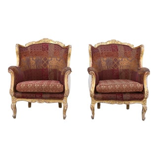 1940s Vintage French Gold Leaf Arm Chairs- A Pair For Sale