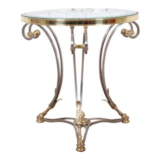 Labarge Hollywood Regency Brass, Steel and Glass Side Table With Hooved Feet For Sale