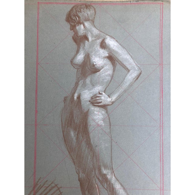 Pair of pencil, pastel nudes study drawings, unsigned about 1925 from the artist portfolio folder. Kenneth Hartwell...