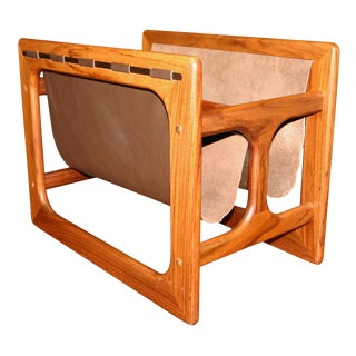 Mid Century Danish Rosewood and Leather Magazine Rack For Sale