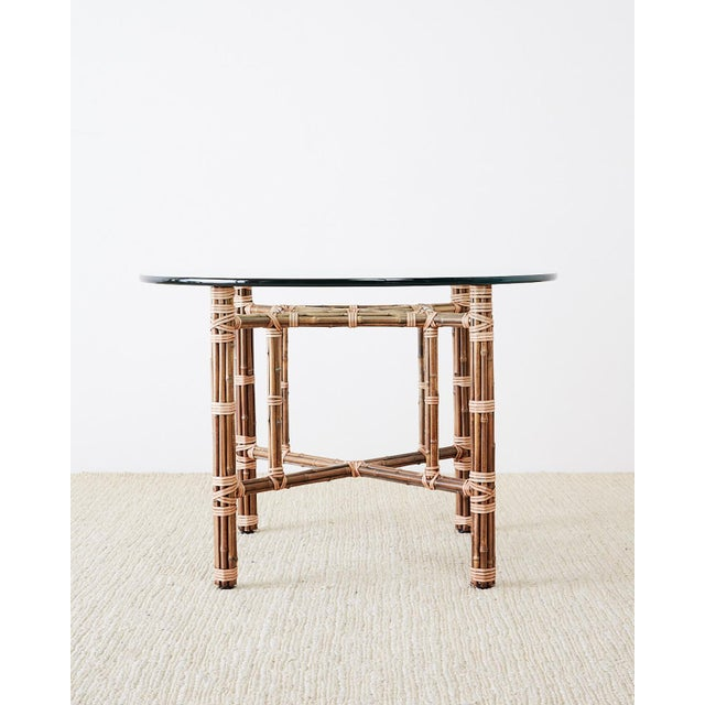 Contemporary McGuire Organic Modern Bamboo Rattan Dining Table For Sale - Image 3 of 13