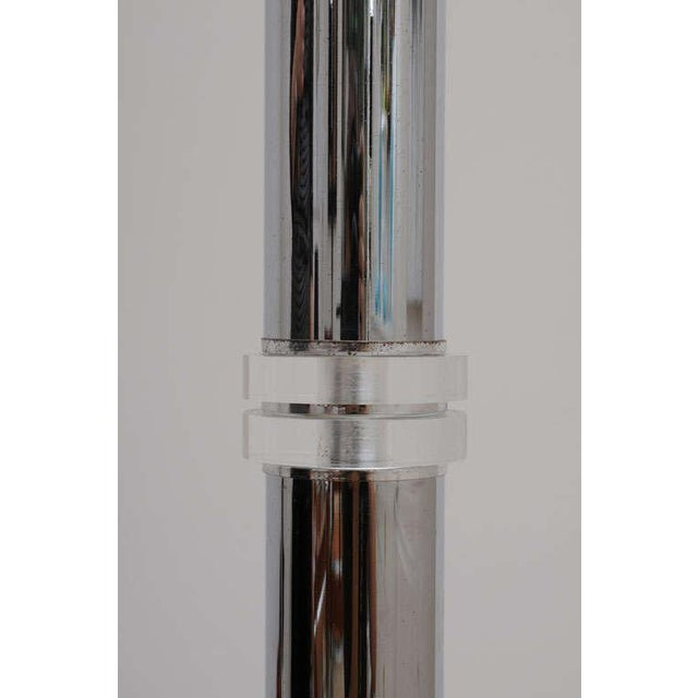 Art Deco Style Chrome and Lucite Floor Lamp With Frosted Glass Shade For Sale - Image 4 of 8
