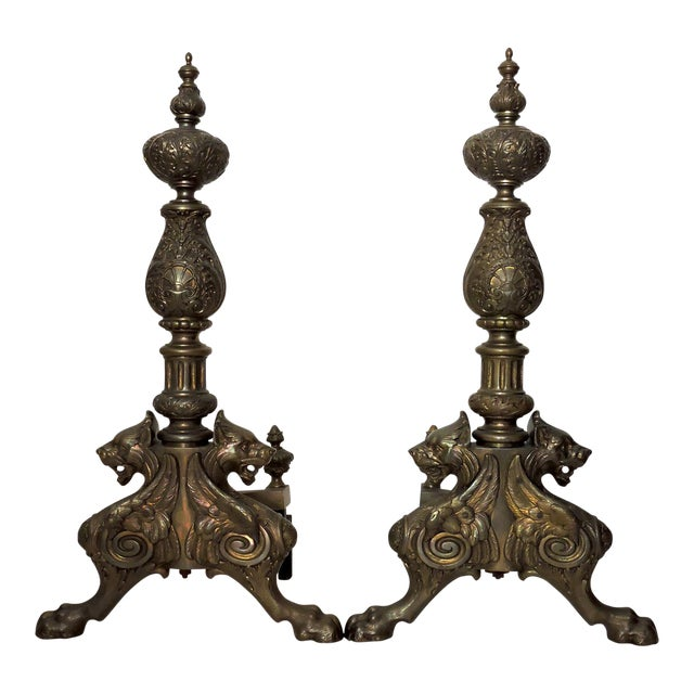 Magnificent Brass Fireplace Andirons With Griffins - a Pair For Sale