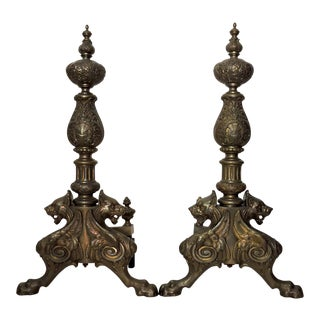 Massive Vintage Traditional Brass & Gold Fireplace Andirons With Griffins - a Pair For Sale