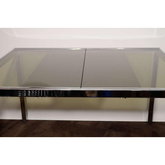 DIA - Design Institute America Mid-Century Chrome and Grey Glass Extension Dining Table by DIA For Sale - Image 4 of 10