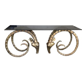 Hollywood Regency Style Brass Ibex Rams Head Dining Table