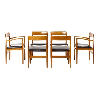 1960s Vintage Danish Modern Teak Dining Chairs - Set of 6 For Sale