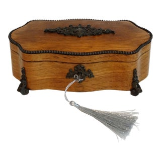 Antique French Serpentine Box, Lock & Key For Sale