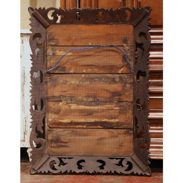 Brown 19th Century French Louis XIII Carved Oak Overlay Beveled Glass Wall Mirror For Sale - Image 8 of 9