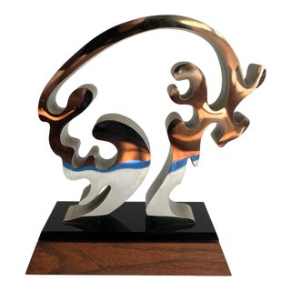 Abstract Biomorphic Metal Sculpture For Sale