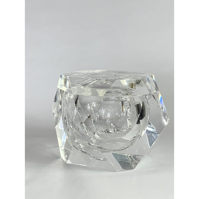 A vintage geometric shaped lucite covered box. It's an ice bucket? It's a secret storage spot? You decide.