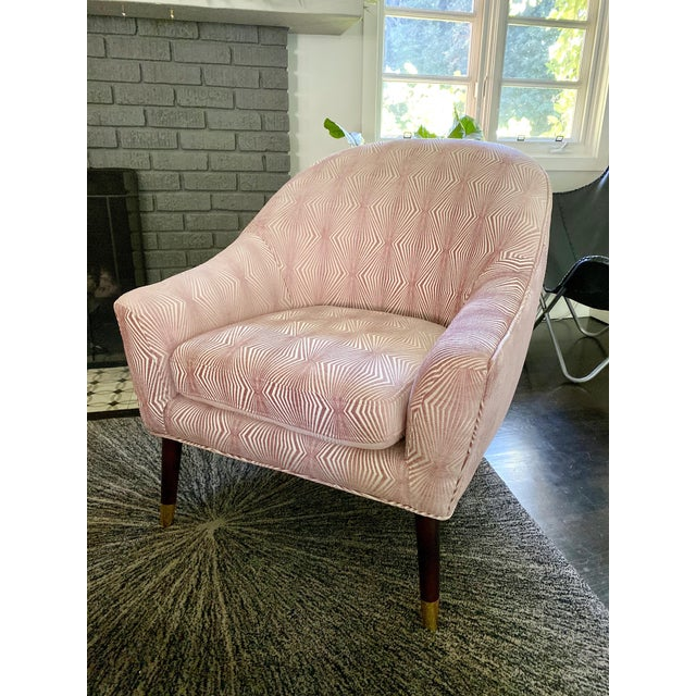 2010s Graphic Pink Upholstered Chair For Sale - Image 5 of 5