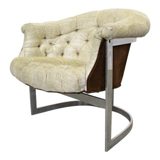 Mid-Century Danish Modern John Stuart Tufted Steel Base Lounge Chair For Sale