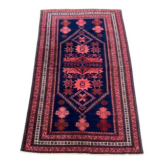 1970s Dark Blue and Red Village Rug- 3′6″ × 5′11″ For Sale