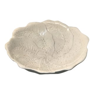1960s White Cabbage Porcelain Footed Decorative Serving Bowl For Sale