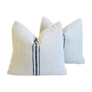 French Blue Stripe Farmhouse Feather/Down Pillows - Pair