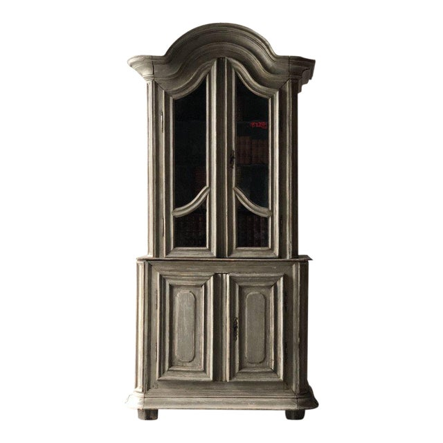 French Painted Two Part Cabinet For Sale
