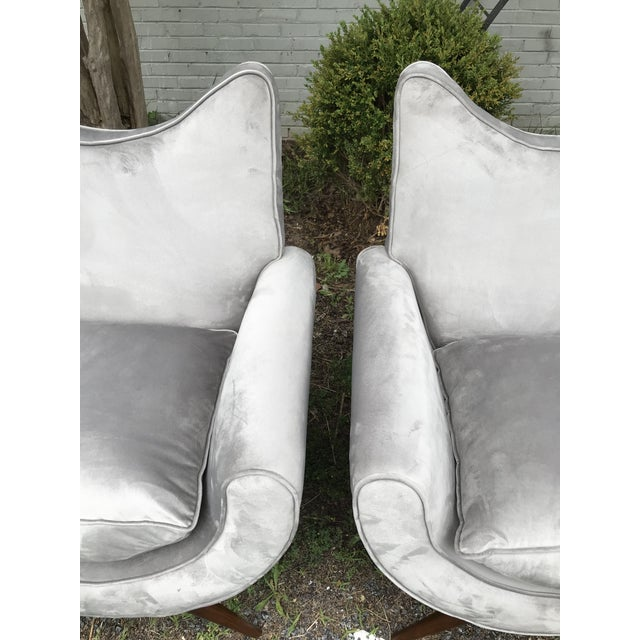 Gray Chic Lounge Chairs in the Manner of Jean Royere - a Pair For Sale - Image 8 of 13