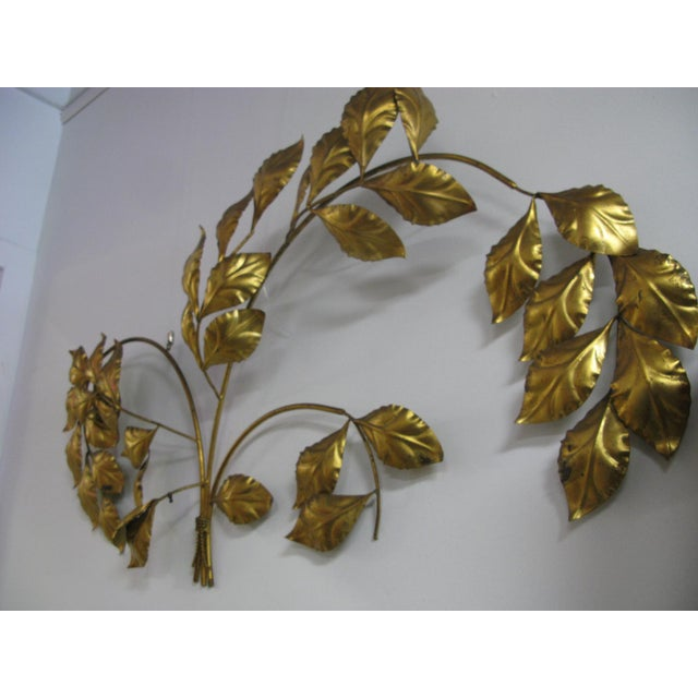 Metal Vintage Mid Century Hollywood Regency Italian Gilded Leaves Wall Sculpture For Sale - Image 7 of 11