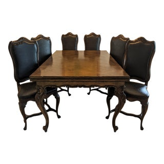 1970's French Louis XV Dining Set - 7 Pieces For Sale