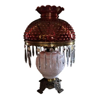 Victorian Milk Glass & Fenton Ruby Hobnail Hurricane Lampshade Table Lamp
