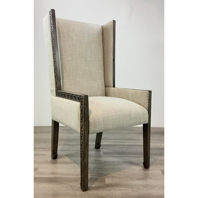 Gray Transitional Carved Wood Linen Wingback Chair For Sale - Image 8 of 8