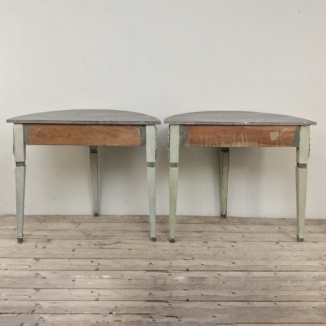 Pair 19th Century Swedish Painted Demilune Consoles For Sale - Image 12 of 13