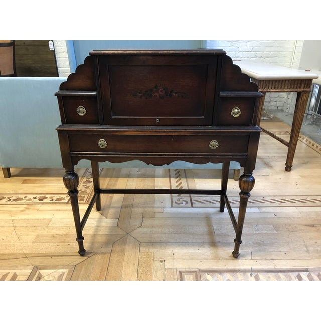 Antique Wood Writing Table + Vanity For Sale - Image 13 of 13