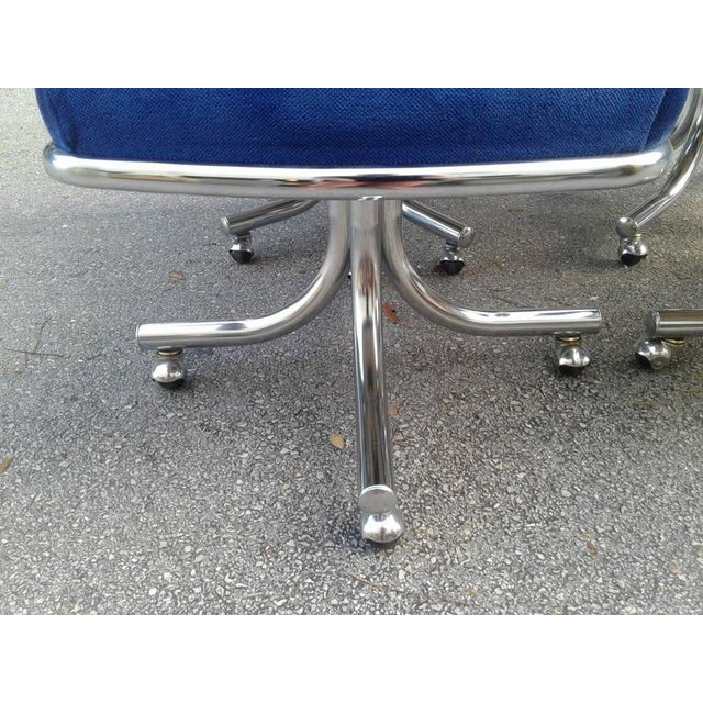 Vintage Hollywood Regency Chrome Swivel Arm Chairs - Set of 4 - Image 6 of 12