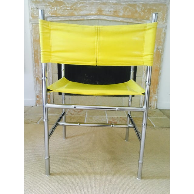 Mid-Century Chrome Arm Chair in Yellow - Image 7 of 8