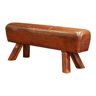 Large Early 20th Century Czech Pommel Horse Bench With Patinated Brown Leather For Sale
