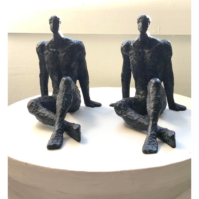 Mid 20th Century Modernist Brutalist Figurative Bronze Sculptures - a Pair For Sale In Chicago - Image 6 of 7