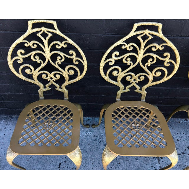 1960s Set of 4 Gold Leafed Thinline Mfg Dining Chairs For Sale - Image 5 of 10