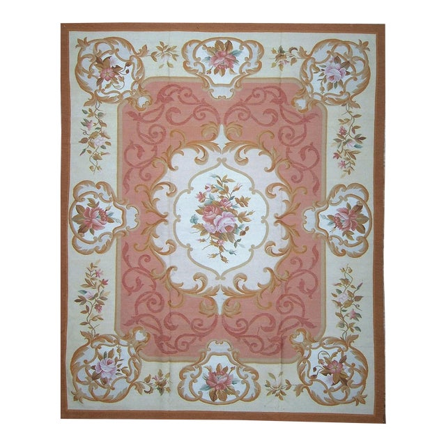 "Pasargad Aubusson Hand Woven Wool Rug - 8' 1"" X 9'11"" For Sale"