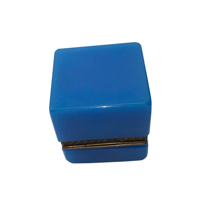Glass 1940s French Blue Opaline Trinket Box For Sale - Image 7 of 8