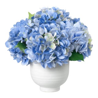 Diane James for Chairish Faux Blue Hydrangea in Ceramic Vase For Sale