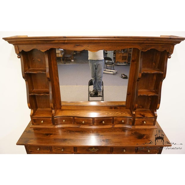 Traditional Ethan Allen Antiqued Pine Old Tavern Dresser With Mirrored Bookshelf Top For Sale