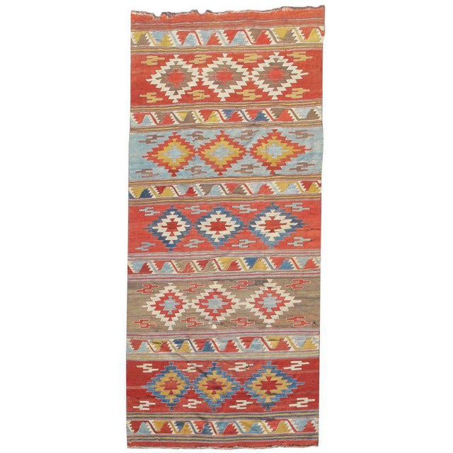 Konya Kilim, c. 1800, Turkey. Areas of excellent 30 year old restoration with old wool, Color match still spot on.